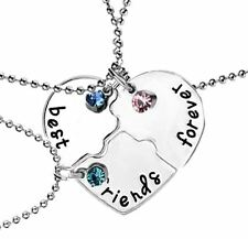 3 BEST FRIEND Forever And Ever Heart Rhinestone Pendants Necklace Friendship