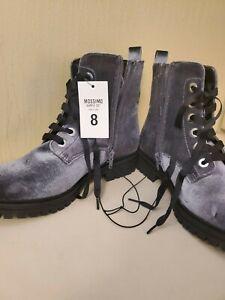 New Mossimo Rihanna Gray Velvet Double Lace Up Zipped Combat Boots Sz 8