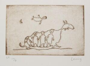Michael LEUNIG Beasts original signed etching Australian art collectable modern
