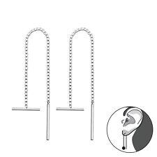 925 Sterling Silver Threader Earrings Box Chain Sideways Bar Thread Girl Women