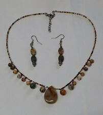 Genuine Gemstone Jasper Bead Necklace and Earring Set