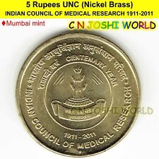 INDIAN COUNCIL OF MEDICAL RESEARCH 1911-2011 Nickel-Brass Rs 5 UNC # 1 Coin