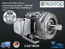 3 HP Electric Motor, GEN PURP, 1200 RPM, 3-Phase, 213TC, Cast Iron, NEMA Prem