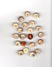 Vintage light tan ceramic disk beads with brown, red and gray markings--8 mm.
