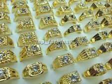wholesale lots 10pcs Fashion Rhinestone Gold Plated Woman Man Gift Rings FREE