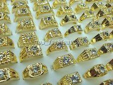 wholesale lots 10pcs Fashion Rhinestone Gold Plated Woman Man Gift Rings FREE