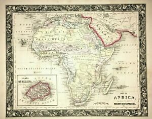 ANTIQUE Original •1860 AFRICA RECENT DISCOVERIES MAP• by S. Agustus Mitchell