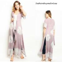 Pink BOHO Hippy Gypsy Tie Dye Maxi Longline Butterfly Flutter Cardigan Top S M L