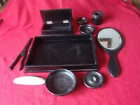 Collection of Vintage Ebony Dressing Table items