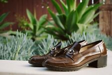 Vintage Gucci Brown Leather Loafers Women's Size 7AA Made In Italy
