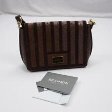 BRAHMIN Hudson Shoulder Handbag Purse Tote Brown Embossed Alligator Womens NWOT