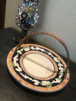 Gorgeous Vintage Japanese Majolica Serving Plate Bamboo Handle HG7