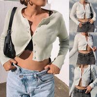 UK Womens T-Shirt Ladies Button Tops Coat Cardigans Long Sleeve Crop Top Blouse
