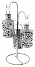 3 Hanging Tea Light Lanterns With Stand PC172