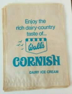 Wall's Cornish Dairy Ice Cream vintage paper bags 7 identical unused Sweet Shop