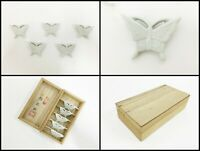 Japanese Porcelain Chopsticks Rest Hashioki Vintage 5pc Signed Butterfly W160