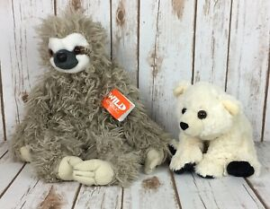 "Lot of 2 Wild Republic Plush 20"" 3 Toed Sloth 9"" Polar Bear Collectible Toy EUC"