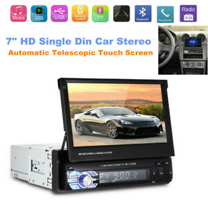 "Telescopic 7"" Single Din Flip Up Car Stereo Radio MP5 Player FM /BT /USB /AUX/SD"