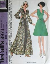 Vtg 1970s McCall 3971 Midriff Evening Day Dress Sewing PATTERN 12 UnCUT FF