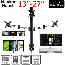 Dual HD LED Desk Mount Monitor Stand Bracket 2 Arm Holds 3 LCD Screen TV AU