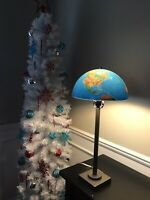 """Unique Repurposed Replogle World Globe Table Lamp - 26"""" Tall with Metal Base"""