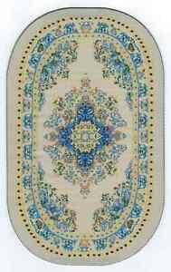 "1/12  DOLLS HOUSE TURKISH OVAL CARPET 5.5""(14.5cm) x 3.5""(9cm) CREAM/BLUE FLORAL"