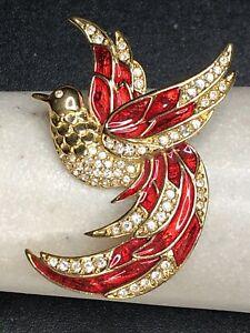 Vintage Signed GIORGIO Crystal Rhinestone Red Enamel BIRD Brooch Pin Beautiful!