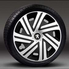 "Silver/Black 15"" wheel trims, Hub Caps, Covers to Peugeot 307/308 (Quantity 4)"
