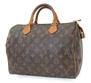 Authentic LOUIS VUITTON Speedy 30 Monogram Boston Handbag Purse #40489