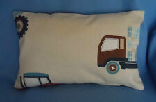 LAURA ASHLEY FABRIC BOY'S BEDROOM TRACTORS & TRUCKS Complete Cushion 15 x10 inch