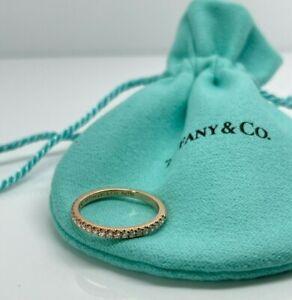 Tiffany & Co 18k Rose Pink Gold Soleste Diamond Half Eternity Band Ring Size 5.5