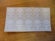 10x The Punisher skull decals - 35mm high (1.5in) stickers