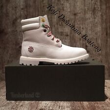 "TIMBERLAND Women's A1U67 WATERVILLE  6"" WHITE WATERPROOF LEATHER BOOTS. SZ:8.5"
