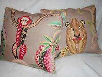 Clarence House Throw pillow covers JEMBALA PRINT jungle animals linen new PAIR