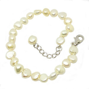 Freshwater pearl bracelet on sterling silver clasp with extension chain