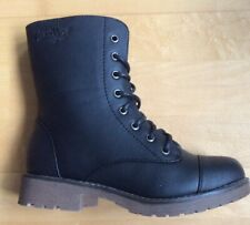 Ladies Fleece Lined Lace Combat Style Boots Black New Size 4 Uk