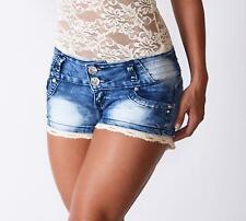 Blue Denim Lace Detail Shorts Hotpants Misses medium size 8