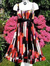 Beautiful UK size 12 MONSOON Silk Fully Lined Multi Abstract Empire Line Dress