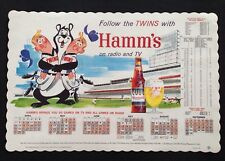 VINTAGE HAMM'S BEER BEAR 1960's PLACEMAT MINNESOTA TWINS