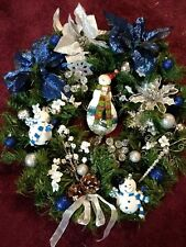 "Homemade lighted Christmas  Wreath 21"" Blue/ Silver Snowman, Poinsettia, New"
