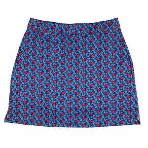 Peter Millar Skort womens M Blue Pink Golf Pockets UPF 50 Shorts Buttefly Print