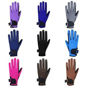 Equestrian Horse Riding Gloves LADIES Synthetic Leather Cotton Dublin Flexible