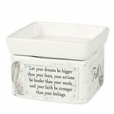 Dream Actions Faith Stronger Stoneware Electric Jar Candle & Wax Tart Oil Warmer