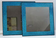 "LOT OF 2 ~ Blue Mosaic Mirror ~ INTERIORS by DESIGN ~ 13"" x 13"" Square V-108316"
