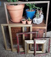 Vintage 6 Gold Wood PICTURE FRAME Lot Recycle Arts shabby chic craft Deco ornate