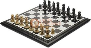 Black Marble Chess Set Indoor Game Board With Chess Pieces Best Kids Gifts Decor