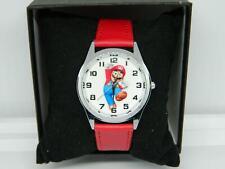 Children's ,Teen Mario style Round Quartz watch Genuine Red Leather strap,Boxed
