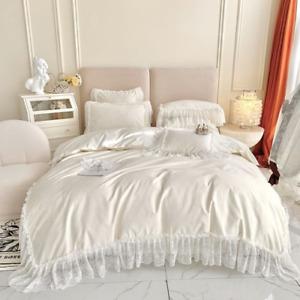 Romantic Princess Lace Ruffle Luxury Bedding Set Egyptian Cotton Cover Bedspread