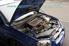 Silver Carbon Strut Shock Damper for Subaru Impreza WRX GDA GDB w/ Aluminum Hood