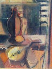 A.SCH. monogrammiert Expressionismus Aquarell 1954: INTERIEUR, GEFÄSSE, BANJO